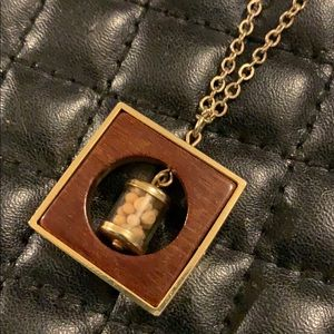 Vintage Tiny Jar Mustard Seed Pendent Necklace